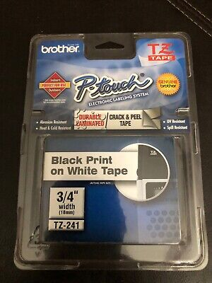 Genuine Brother Tz-tape P-touch - 34 18mm Black On White Tape - New Sealed