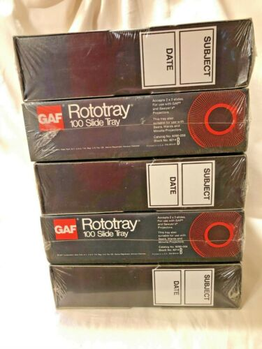Set Of 5 GAF Rototray 100 Slide Trays For 2x2 Slides SEALED NEW