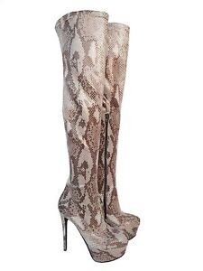 GIOHEL-PLATAFORMA-OVERKNEE-BOOTS-STIEFEL-BOTAS-PYTHON-STRETCH-LEATHER-MARRoN-37