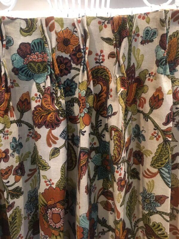MCM Vintage Curtains Pinch Pleats British Woven Union Linen 6 Panels + 4 Pillows
