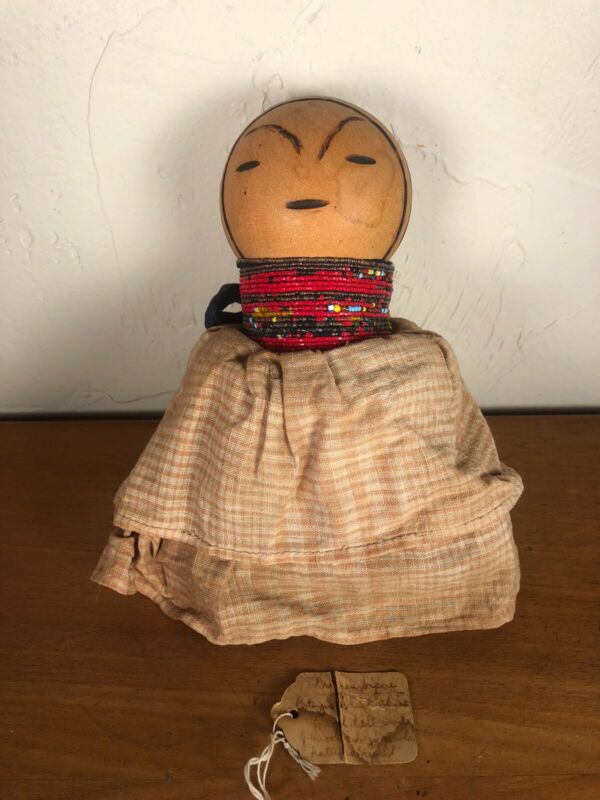 Old 1930s African Nyamwezi Gourd Marionette Doll For Ceremony & Ritual Storage
