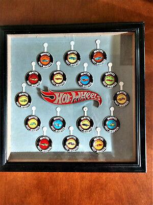 Hot Wheels Redline Original 16 Button Badges Framed Wall Display Complete Set