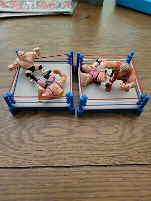WWF 1997 Grudge 2 Match Rings and 4 Figures Stone Cold, Brett and Owen Hart, HBK