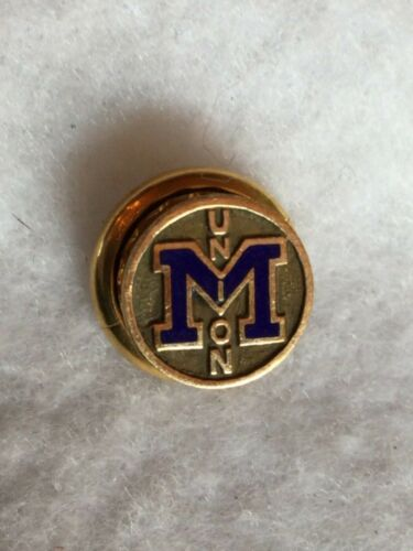 Vintage University Of Michigan Union Pin Gold Tone with Blue M