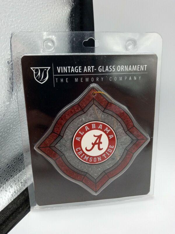 "NEW Alabama Crimson Tide Football Art Glass Ornament by The Memory Company, 4"""