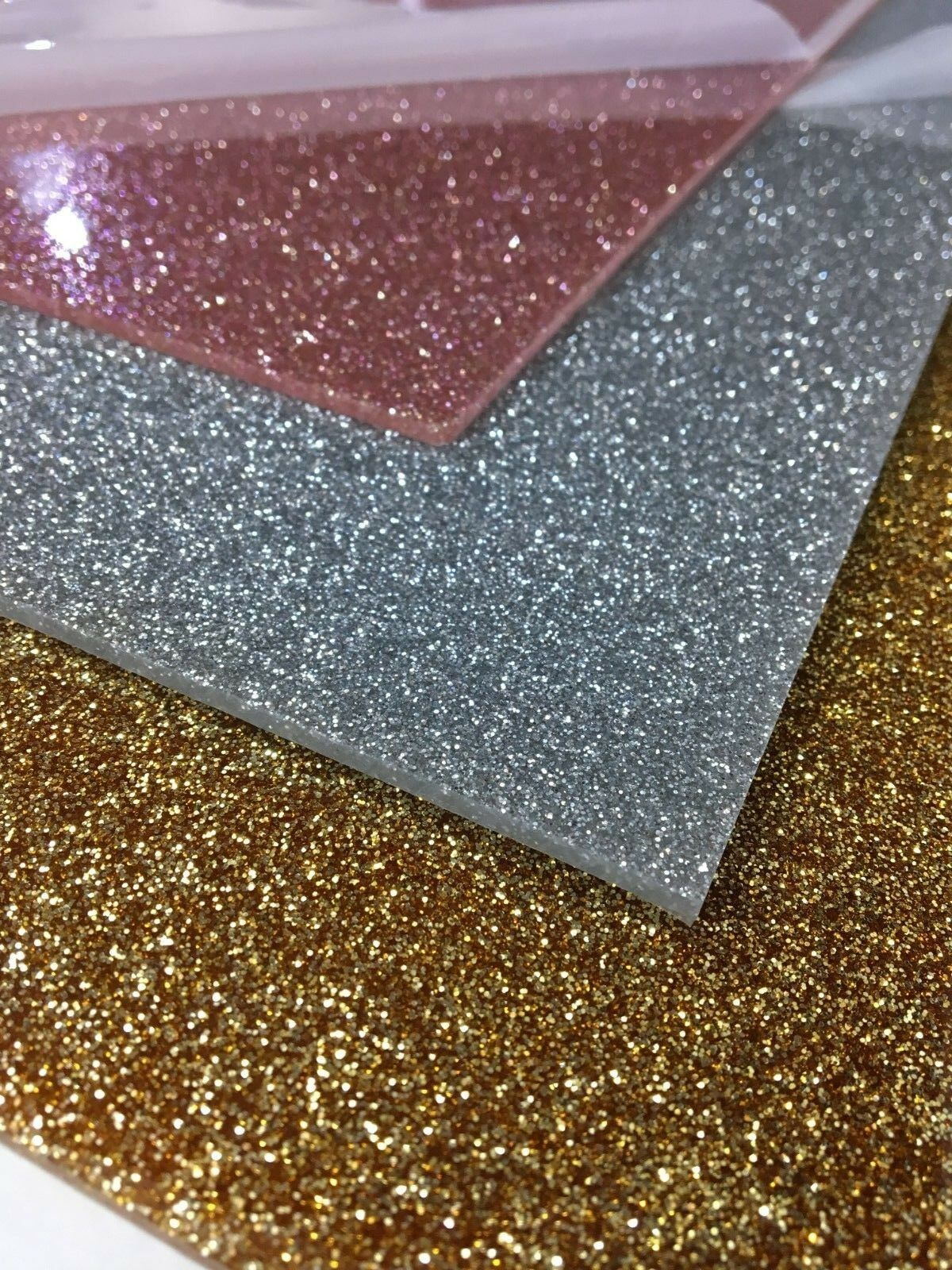Perspex acrylic sheet glitter gold silver rose 3mm sparkle ...