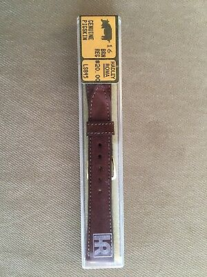 Brown Watch Band Gold Clasp - Vintage 16mm Hadley Roma Brown Leather Pigskin watch band.  Gold Clasp LS845