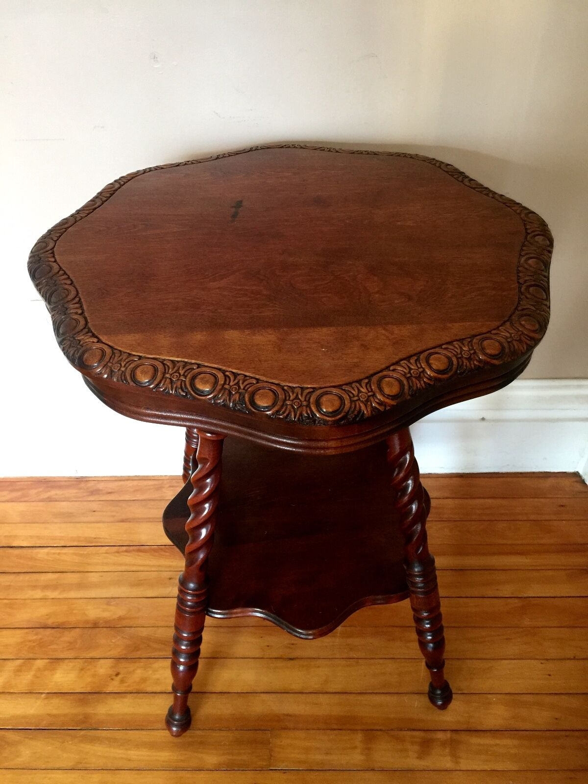 Antique Vtg Lamp Table With Rope Turned Legs - $449.99
