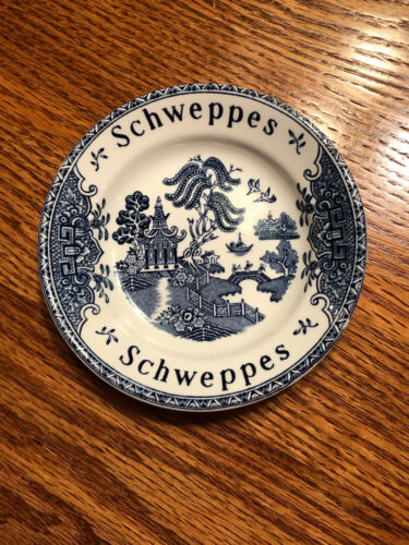 Vintage Enoch Wedgwood Blue Willow Schweppes Coaster Tip Dish England