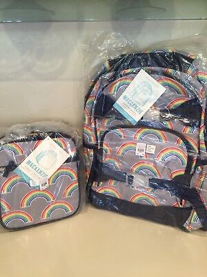 Pottery Barn Kids Gray Neon Rainbow Small Backpack And Lunchbox New Set