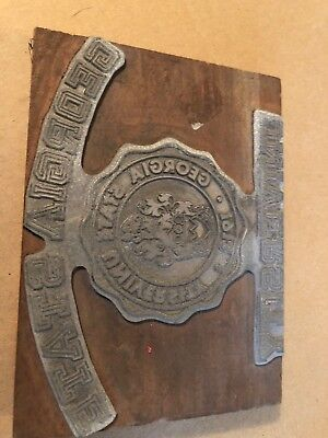 Vintage University Georgia State Seal Crest Letterpress Print Block Printer
