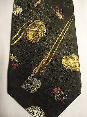 Field And Stream Silk Tie 56  Fishing Rod Net Basket Hat Flies Brown