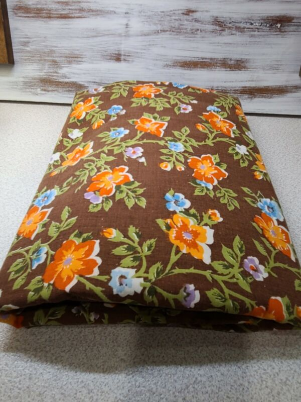 VTG Retro Flowers QUEEN Fitted SHEET RARE color Brown/Orange/blue FLORAL Hippie