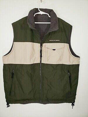 Abercrombie Mens Size L Large REVERSABLE Green Gray Beige Fleece Lined Vest EUC