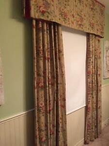 Custom made curtains and valance, fully lined
