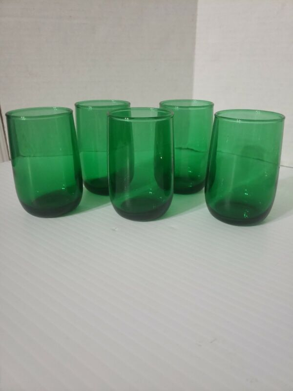 Vintage Anchor Hocking Small Juice Glasses Forest Green Set Of 5