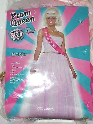 Size 14-16 Women's Pink Prom Queen 50's School Costume Cosplay Halloween Dance