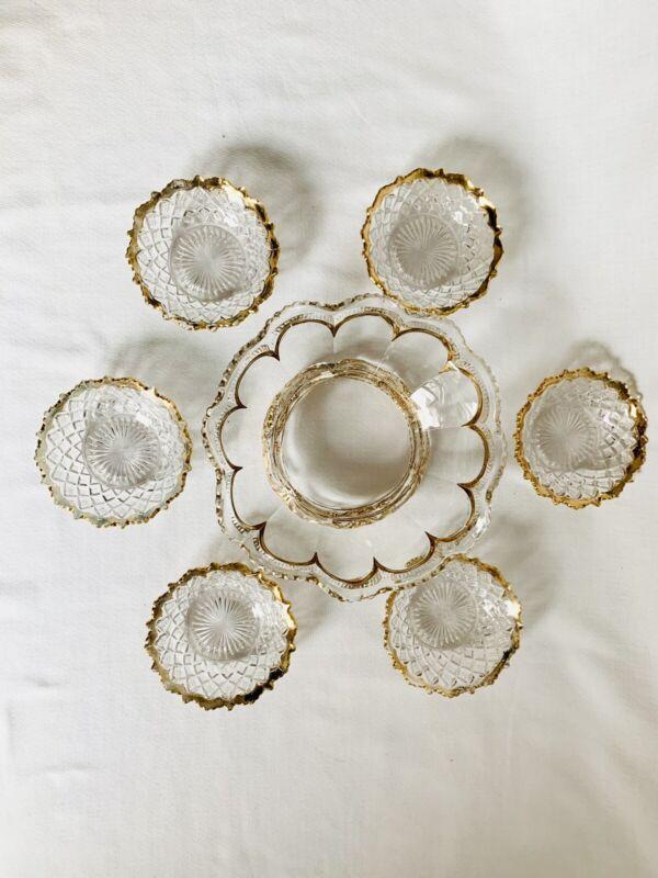 EAPG DIAMOND POINT BERRY BOWL SET, CLEAR, GOLD EDGED, Hollywood Regency