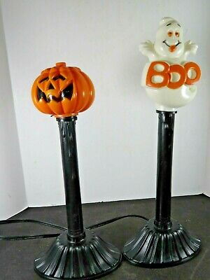2 Vintage Blow Mold Halloween Candle Stick Window Lights Lot Ghost Pumpkin B526