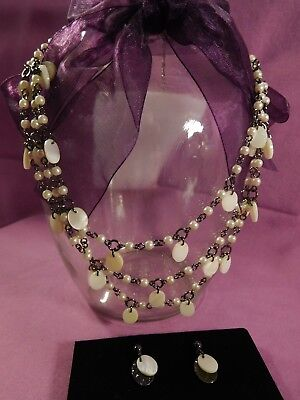 Avon Triple Strand mother of pearl necklace and earring set