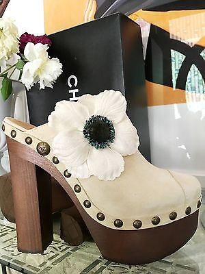 "$1300 NIB CHANEL CAMELIA MULES CLOGS 6"" HEEL sz 39.5 SUPER RARE FIND! SOLD OUT"