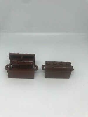 LEGO LOT OF 2 BROWN TREASURE CHEST PIECES PIRATE