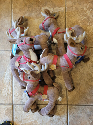 "5 Hallmark The Polar Express Plush 14"" Christmas Reindeer: New with tags"