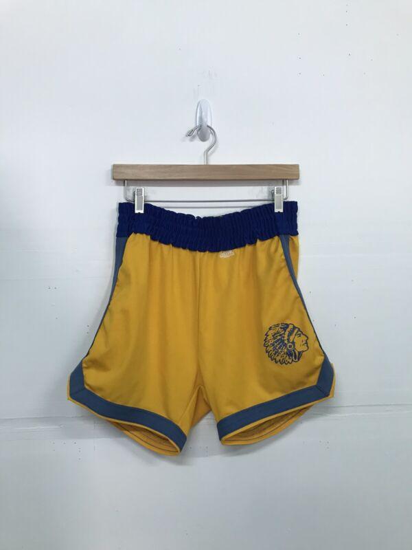 Vintage Delong Basketball Shorts Mens Medium Made In Usa Yellow Spartan 80s 90s