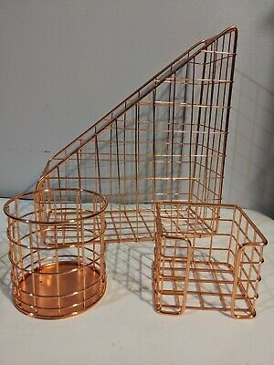 Rose Gold Desk Organizer Set 3pcs Desk Accessories Folder Hold Pencil Hold