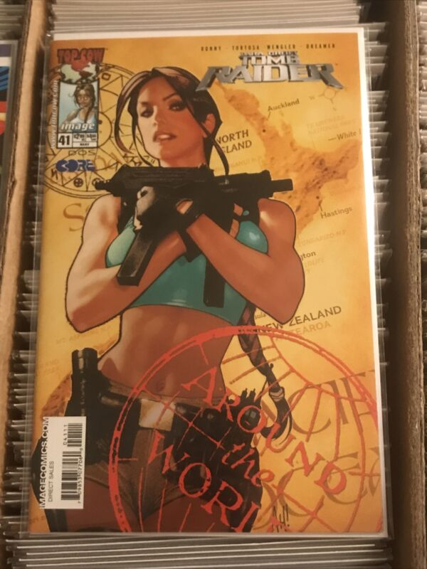 TOMB RAIDER #41 ADAM HUGHES AROUND THE WORLD UZI LARA CROFT COVER 2004 TOP COW