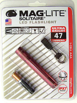 Aaa Cell Maglite Flashlight -  Maglite LED Solitaire 1-Cell AAA Flashlight SJ3A036 Red Keychain 47 LUMENS USA
