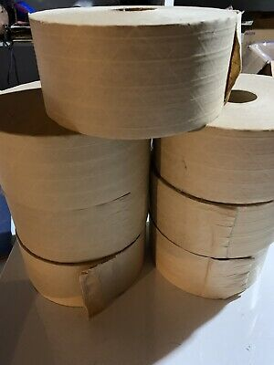 7 Rolls 3 X 450 Ft Reinforced Kraft Gummed Paper Tape Brown Brand New 71029