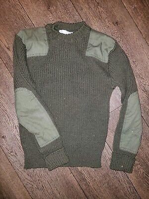 USMC DSCP Green Wool Commando Sweater w/ Epaulettes Size 40 Wooly Pully for sale  Rienzi