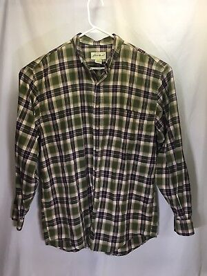 (Eddie Bauer long sleeved men's Button Front shirt Size Tall L/G Green Plaid)
