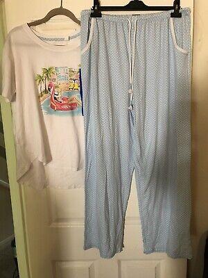 Jane&Bleecker Ladies Summer Pyjamas Size L white / light blue