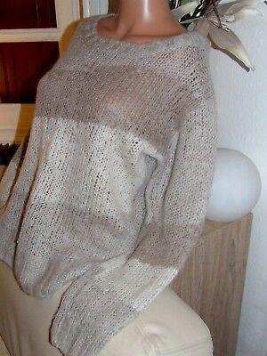 Superbe pull acrylique toucher mohair tricoté main   taille 38  parfait état