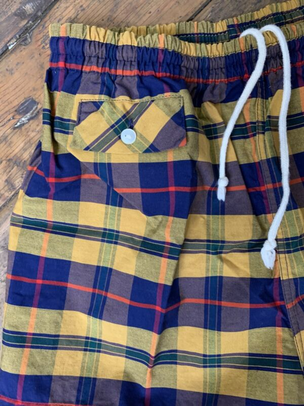 Vintage Swim Shorts Trunks California Made Yellow Plaid Front Pocket Cal Surf M