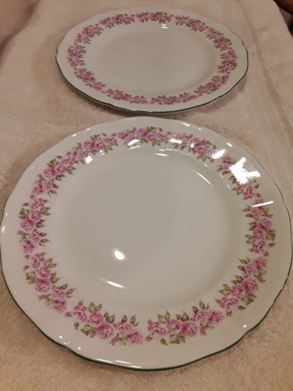 ADDERLEY LAWLEY BONE CHINA DINNER PLATES FLORAL PATTERN ENGLAND LOT OF 2