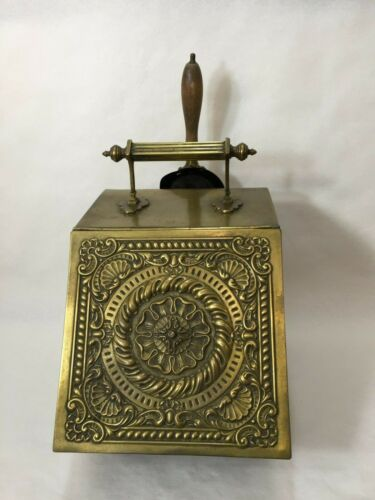 Antique Victorian Heavy Brass Embossed Lid Coal Scuttle Bucket Box with Shovel