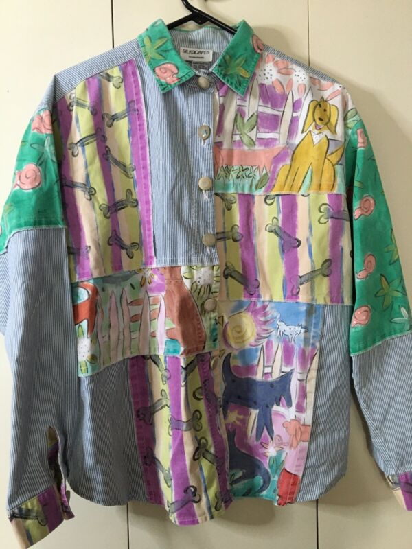 """Silkscapes Hand Painted 52"""" Bust Dog Lovers Denim Trendy Button Down Shirt Artsy"""