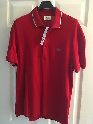 New Authentic Lacoste Mens TOKYO Red Polo Buttoned Collar Shirt Top - Size 4