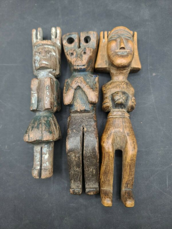 Vtg Lot 3 Guatemalan Slingshots Folk Tribal Folk Art Wood Carved