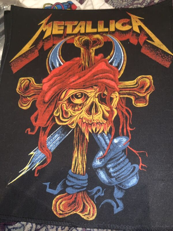 """Unused 1990s Metallica Pirate Skull & Crossbones 11 by 14 """"Back Patch Made In UK"""