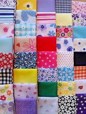 LUCKY DIP POLY COTTON FABRIC PATCHWORK QUILTING SQUARES 25PC BUNDLES CRAFTS