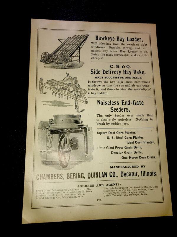 1908 Chambers Bering Quinlan Farm Advertising - Decatur - Illinois