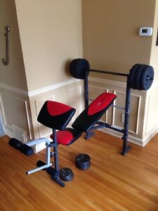 Weirder pro weight bench with weights and bar