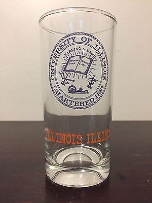 (Vtg 60s University Of Illinois Fighting Illini Drinking Glass Seal Tall Tumbler)
