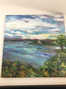 Cynthia Gatien Painting of the St Lawrence across from Lancaster