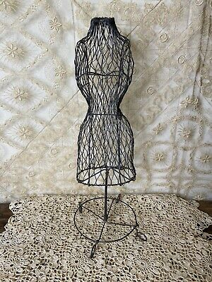 Vintage Wire Metal Dress Form Mannequin Table Top Decorative Jewelry Display