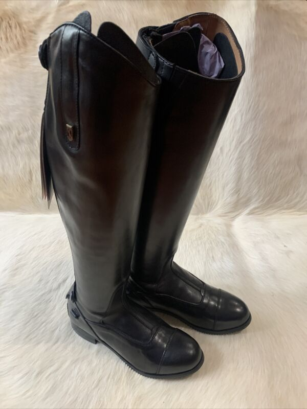"Blk Tredstep Donatello II Dress Boots Sz 8-8½ US Slim Calf 13¼"" Height Reg 18¼"""